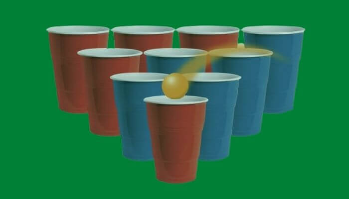 Playing Cup Pong in Game pigeon