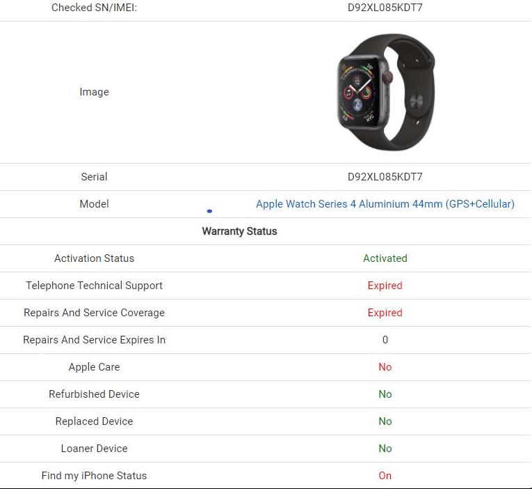 Apple watch serial number - real vs fake