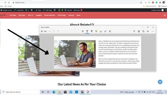 Press Windows + Shift + S to take a screenshot