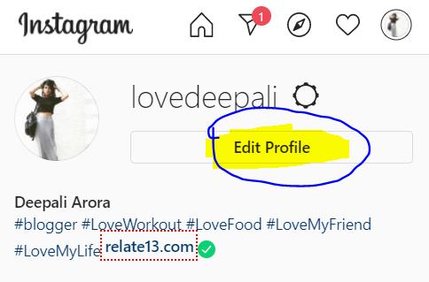 Tap on Edit Profile-Instagram