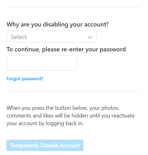 why are you disabling your account