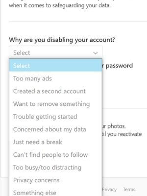 Select the reason, Why are you disabling your instagram account?