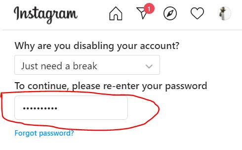 re-enter Your Instagram account password