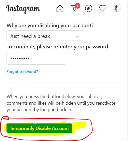 Click temporarily close account