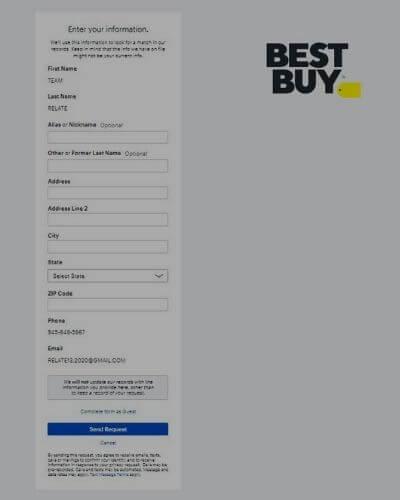Delete best buy account via the official website-1