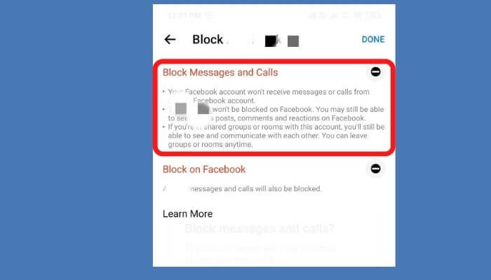 Tap on block messages and calls