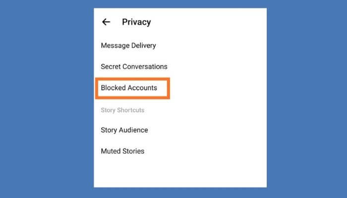 Go to Block accounts section